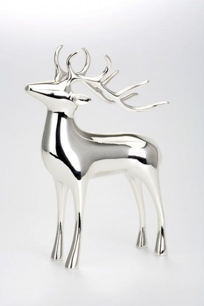 Small reindeer - silver coated and tarnish-proof - 11,5 cm