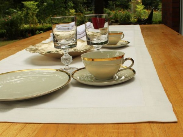 Linen table runner, antique white, with mitered corner, 50x170