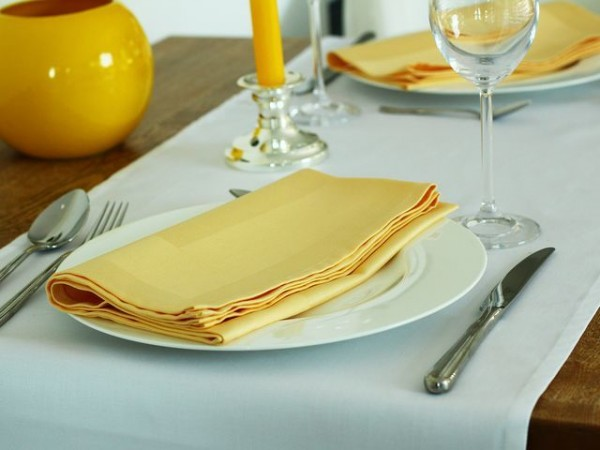 6 cloth napkins Padua, yellow, with satin band 50x50 cm