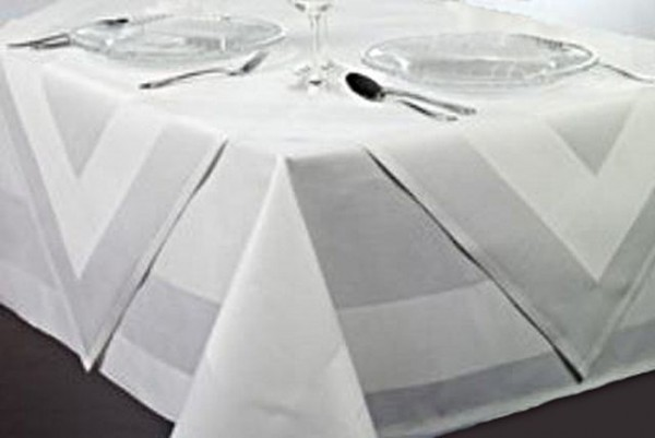 Table topper Padua, white, with satin band, 80x80