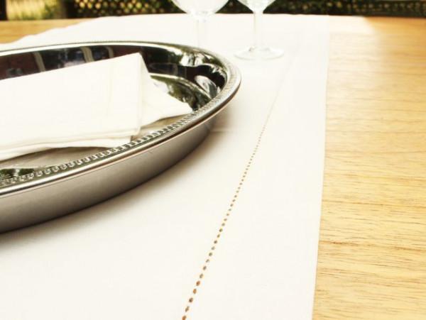 Leinen-Tischläufer, altweiß, mit feinem Hohlsaum, 40x140