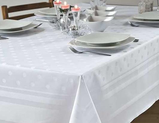Damask tablecloth Amara, white, with satin band and polka dots, 130x190