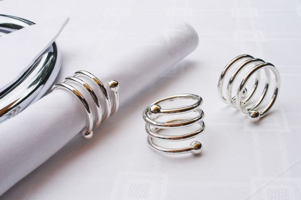 Napkin ring Frieda, spiral round, silver coated