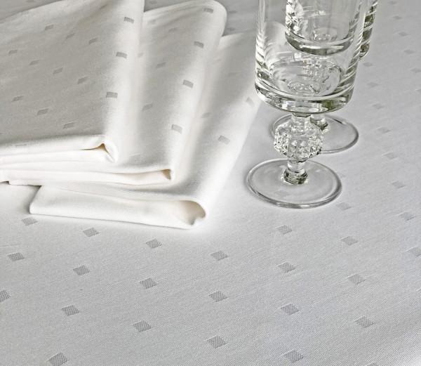 Damast-Tischdecke Kuba, rund, weiß, mit festlichem Muster, Ø 240