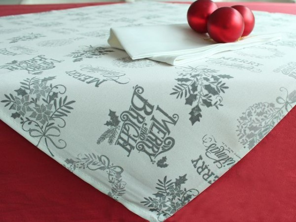 Christmas tablecloth Lutz, champagne-silver, with writing, 85x85