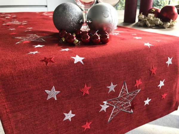 Christmas table runner Nelson, red, with embroidery, 40x140cm