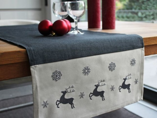 Christmas table runner Kurt, anthracite, with elks, 40x140