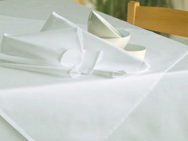 Tablecloth Klara, white, without pattern, 160x350