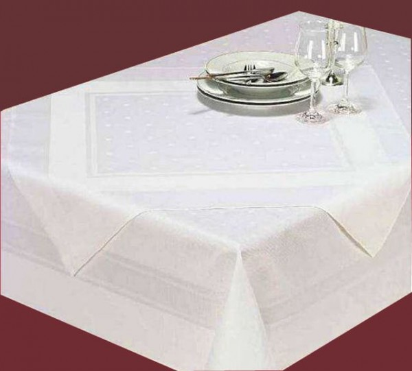 Set of 3 damask table topper Amara, white, with satin band and polka dots, 80x80