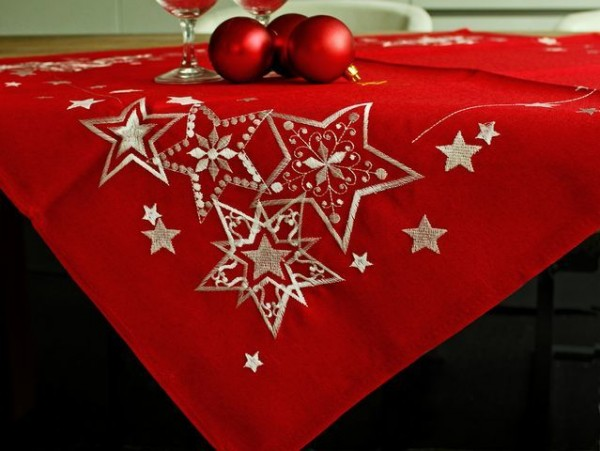 Christmas tablecloth Emil, red-white, with stars, 85x85