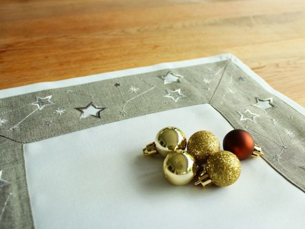 Christmas table runner Peter, light grey, with stars, 40x140