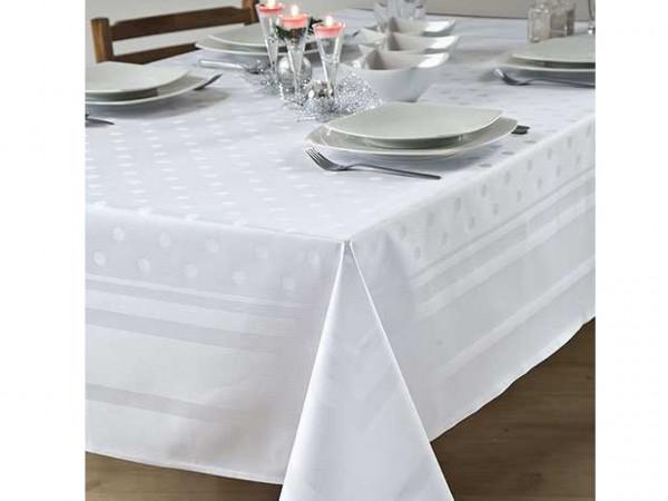 Damast-Tischdecke Amara, weiß, mit Atlaskante und Tupfen, 130x130