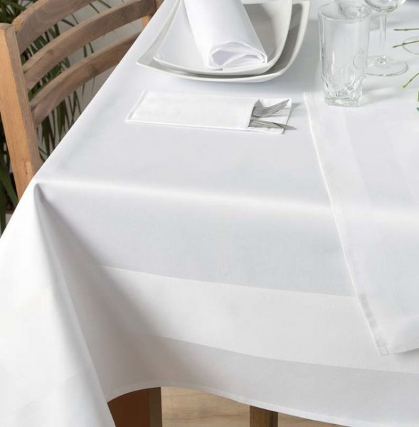 Tablecloth Padua, white, with satin band, 140x220