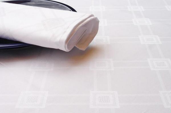Damast-Tischläufer Milara, weiss, mit elegantem Muster 40x140