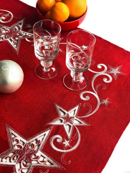 Christmas tablecloth Steffen, red, with white embroidery, 85x85
