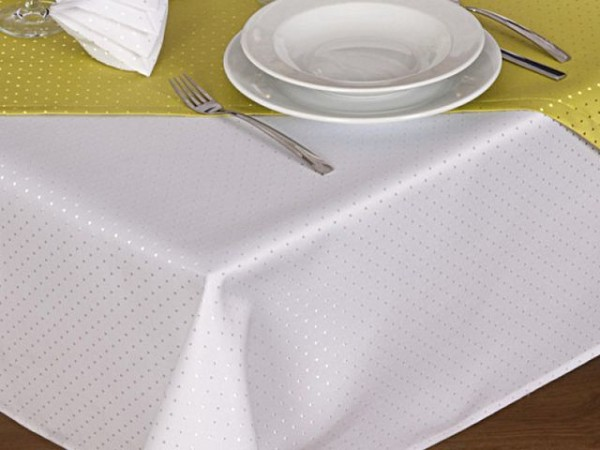Tablecloth Malta, white, with dots, 140x300