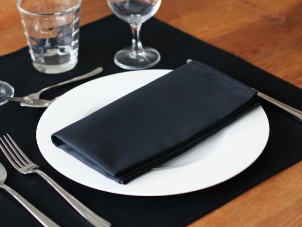 12 cloth napkins Toronto, black, without pattern, 50x50