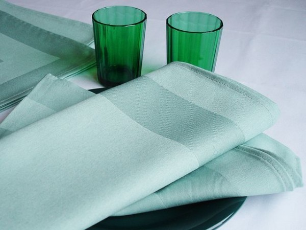 18 cloth napkins, Padua, light green, with satin band 50x50 cm