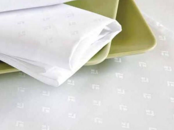 6 damask napkins Leila, white, with restrained modern pattern, 50x50