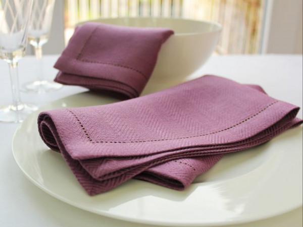 12 linen napkins, navy, with hemstitch in herringbone pattern, 45x45