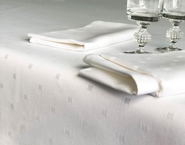 Damast-Tischdecke Kuba, weiß, mit festlichem Muster, 130x170