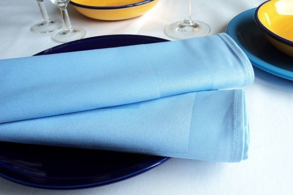 18 cloth napkins, Padua, light blue, with satin band 50x50