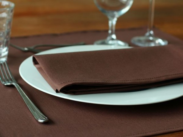 12 cloth napkins Toronto, cocoa-brown, without pattern, 45x45