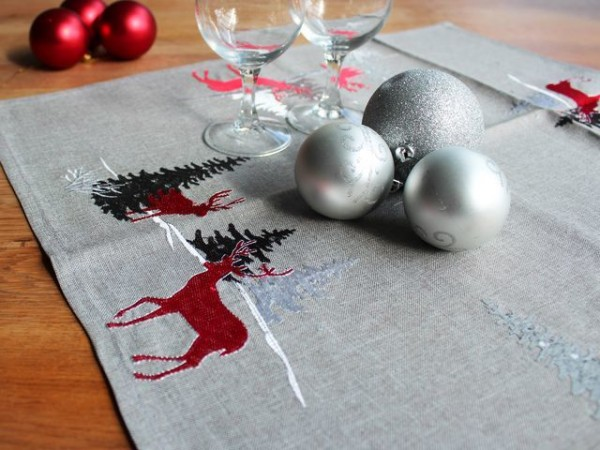 Christmas tablecloth Jonas, light grey, with embroidery, 60x60