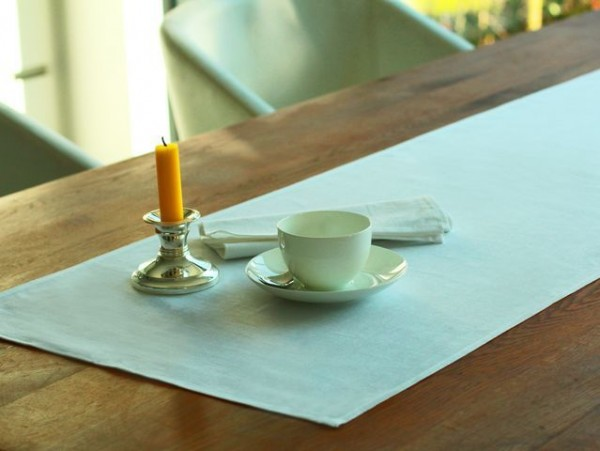 Linen table runner, white, without pattern, 45x160