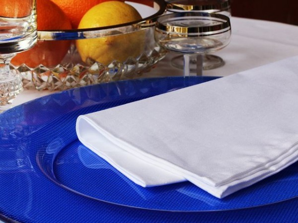 6 cloth napkins Klara, white, without pattern, 50x50