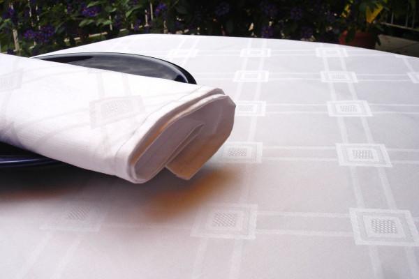 Damask tablecloth Milara, white, with elegant pattern, 140x260