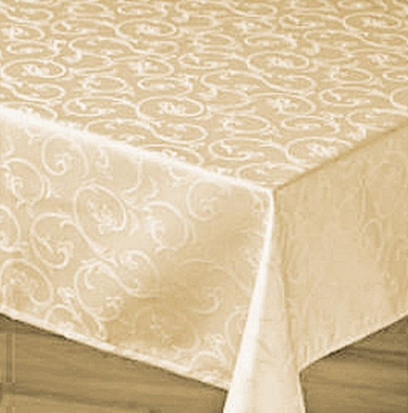 Damask tablecloth Sila, champagne, with floral pattern, 140x320