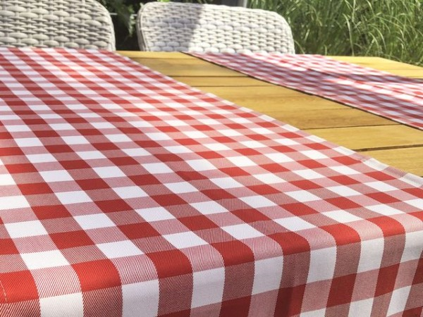 Table runner, red-white chequered, 40x130
