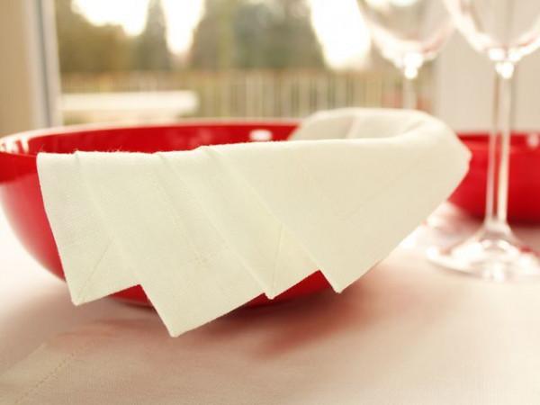 4 linen napkins, antique white, with mitered corner, 45x45