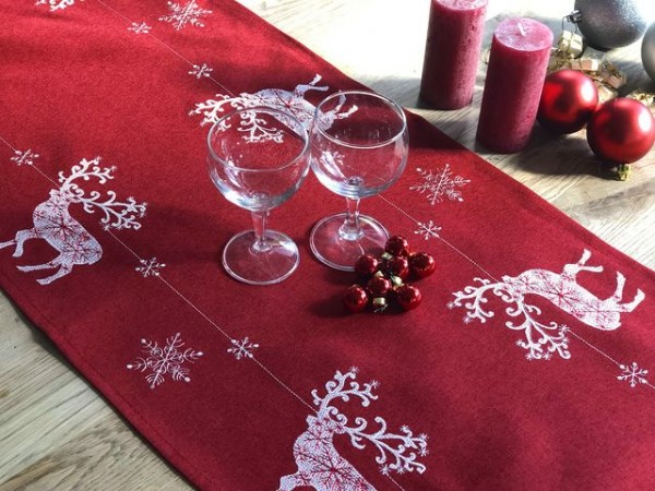 Christmas table runner Wicki, red-white with deers, 40x200
