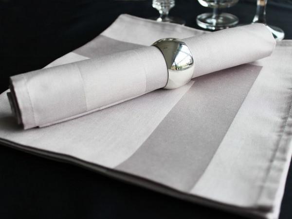 12 cloth napkins Padua, grey-brown, with satin band 50x50 cm