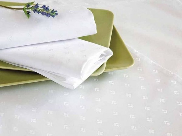 Damask tablecloth Leila, round, white, with modern pattern, Ø 160
