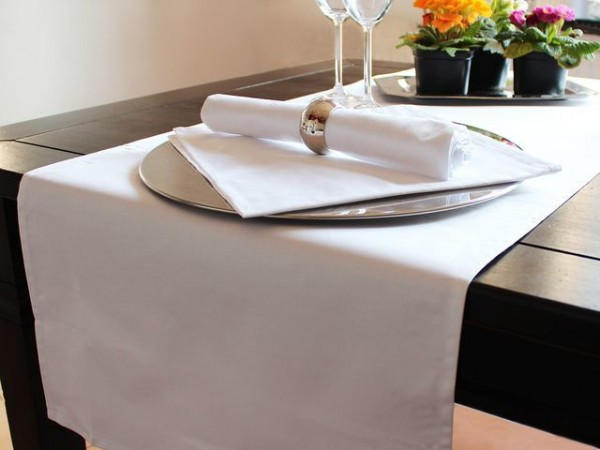 Table runner, white, without pattern, 40x130