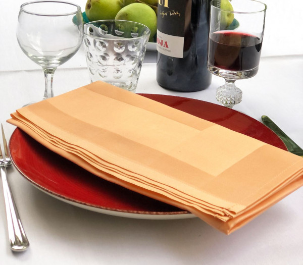 6 cloth napkins, Padua, apricot, with satin band 50x50