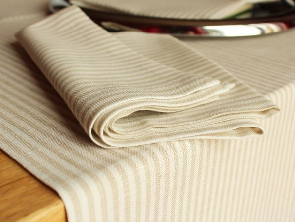 12 linen napkins, striped, 45x45