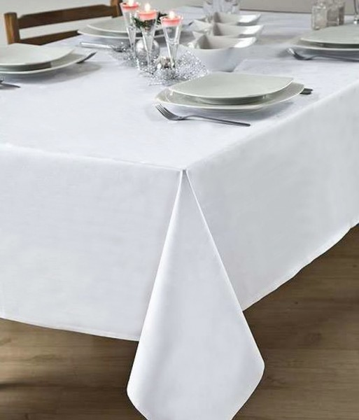 Tablecloth Atlanta, white, without pattern, 130x260